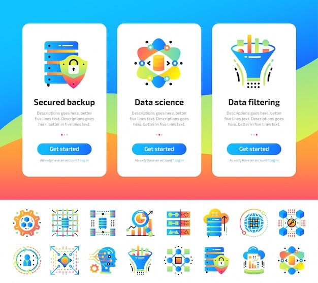 Conjunto de telas de aplicativos integrados da tecnologia de ciência de dados e do conjunto de ilustrações do processo de aprendizado de máquina.