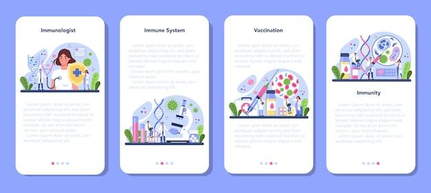 Conjunto de telas de aplicativos móveis para imunologistas profissionais.