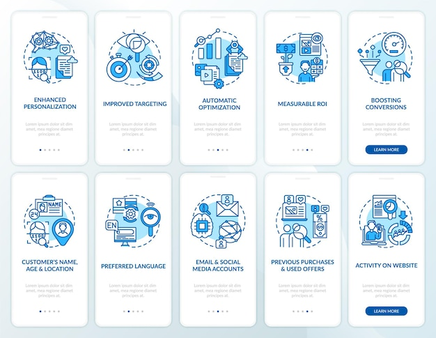 Conjunto de telas de aplicativos para dispositivos móveis de integração de conteúdo inteligente azul