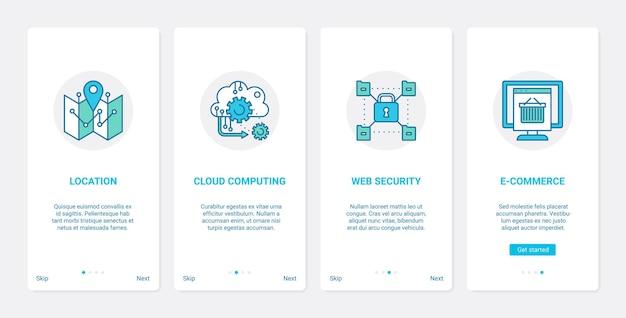 Conjunto de telas de aplicativos para dispositivos móveis de integração de ux da interface do usuário do serviço de nuvem da internet de comércio eletrônico do site