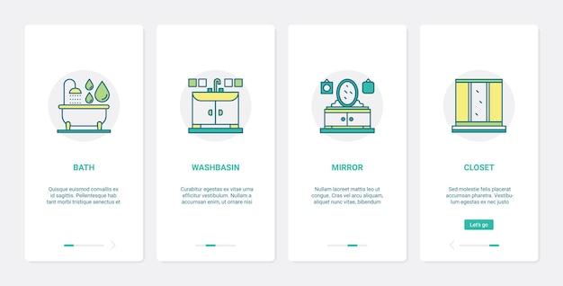 Conjunto de telas de aplicativos para dispositivos móveis de integração de ux ui coleção de móveis de decoração de casa de banheiro