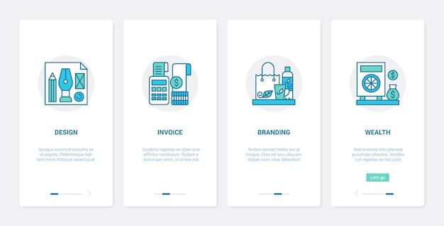 Conjunto de telas de aplicativos para dispositivos móveis de integração de ux ui de contabilidade de finanças comerciais branding