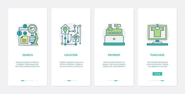 Conjunto de telas de aplicativos para dispositivos móveis para pedidos e pagamentos de comércio on-line ux ui