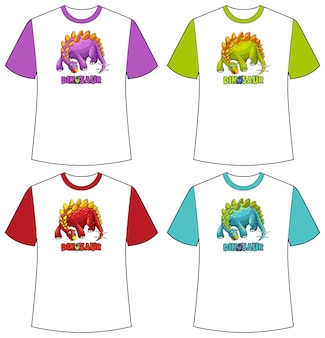 Conjunto de telas de dinossauros em cores diferentes em camisetas