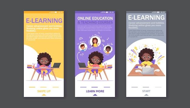 Conjunto de telas de integração para aplicativos móveis. banners com tutoriais, programa de estudo, aprendizagem online. garota afro-americana senta-se à mesa e estuda online em casa.
