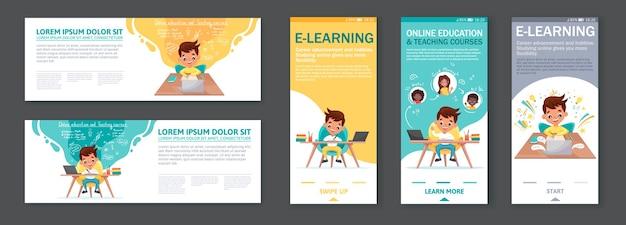 Conjunto de telas de integração para aplicativos móveis e banners com tutoriais, programa de estudo, aprendizagem online. menino bonito dos desenhos animados se senta à mesa, estudando online em casa.