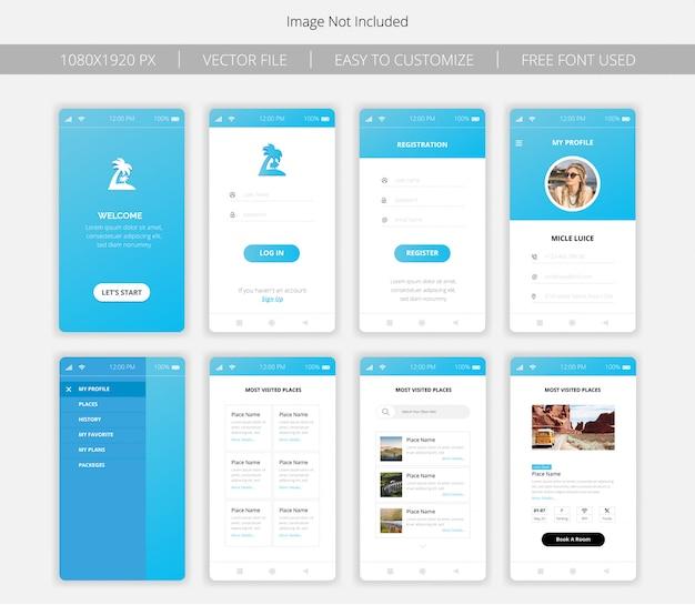 Conjunto de telas de interface do aplicativo em viagem
