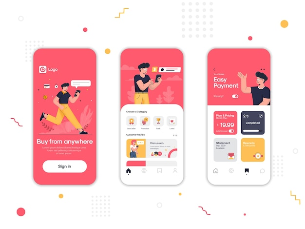 Conjunto de telas de interface do usuário, ux e gui do aplicativo de compras online