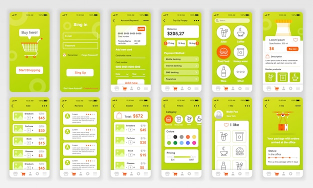 Conjunto de telas de interface do usuário, ux e gui
