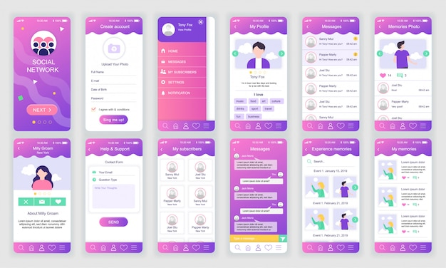 Conjunto de telas de interface do usuário, ux, gui social network app flat