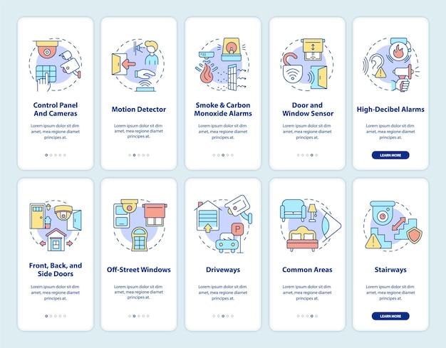 Conjunto de telas de página de aplicativo móvel de integração de segurança de propriedade. sistema de proteção com instruções gráficas de 5 etapas e conceitos. modelo de vetor ui, ux e gui com ilustrações coloridas lineares
