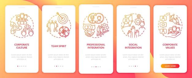 Conjunto de telas de páginas de aplicativos móveis de integração espírito de equipe