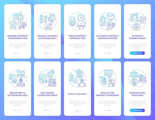 Conjunto de telas de páginas de aplicativos para dispositivos móveis de gerenciamento de contratos