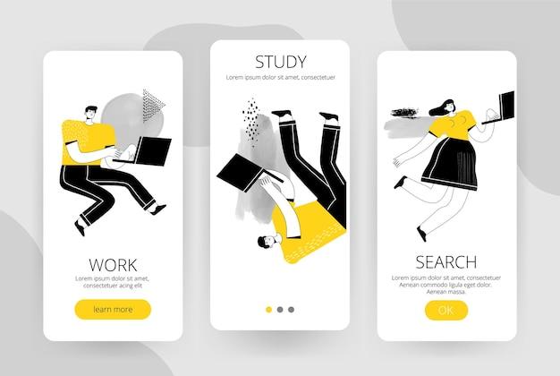 Conjunto de telas para um aplicativo móvel