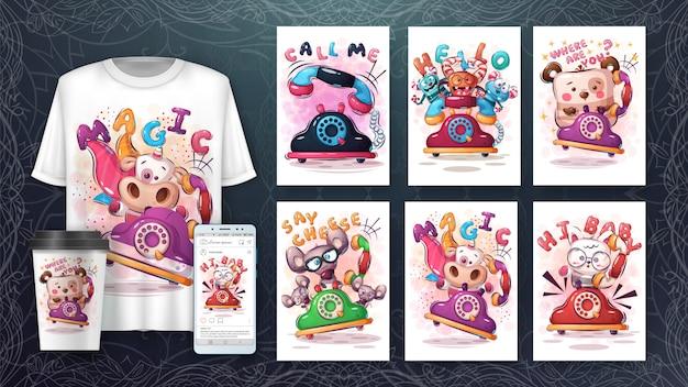 Conjunto de telefone com poster de animais e merchandising