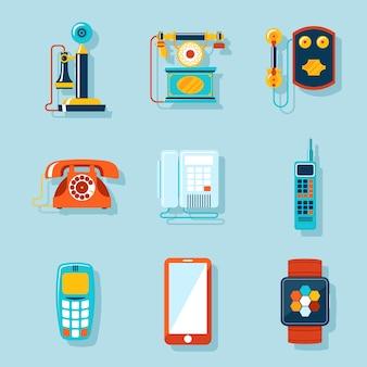Conjunto de telefone plano. retro e touchscreen, display digital e gadget, aparelho e comunicador.