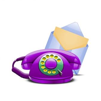 Conjunto de telefone violeta e correio azul