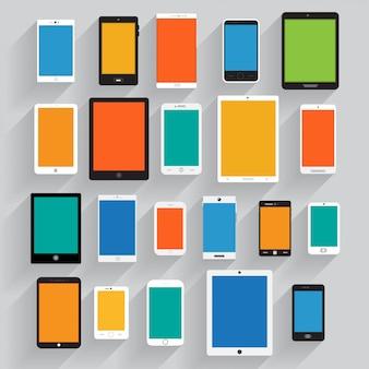 Conjunto de telefones celulares e tablets, ilustração eps 10