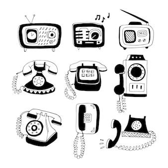 Conjunto de telefones e rádio desenhados à mão