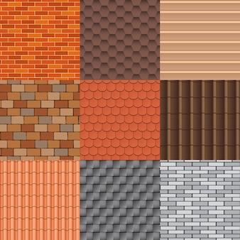 Conjunto de telhas e textura do telhado.