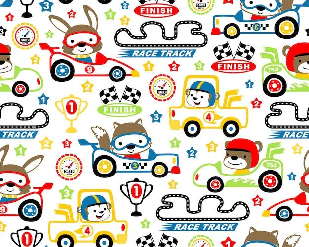 Conjunto de tema de corridas de carros dos desenhos animados no vetor padrão sem emenda