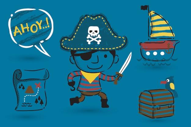 Conjunto de tema de desenho animado pirata