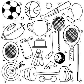 Conjunto de tema de esporte desenhado à mão isolado no fundo branco conjunto de doodle de tema de esporte