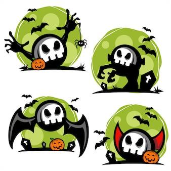 Conjunto de tema de halloween de caveira