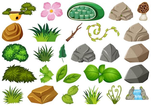 Conjunto de tema de objetos isolados - jardinagem