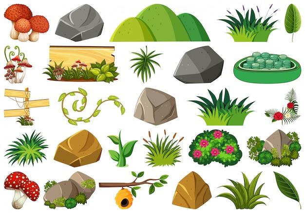 Conjunto de tema de objetos isolados - natureza