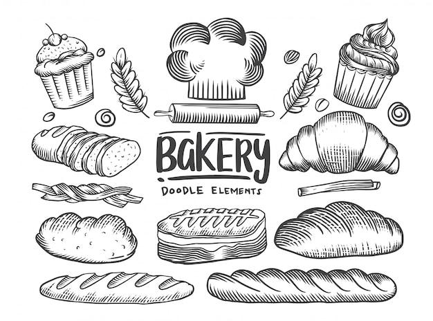 Conjunto de tema de padaria de desenhos. bolos, tortas, coleção de pão e pastelaria. casa de pão. ilustração a preto e branco desenho