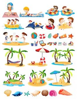 Conjunto de tema de praia