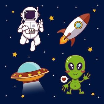 Conjunto de tema espacial com foguete alienígena de astronautas e ilustração vetorial de ufo em fundo preto