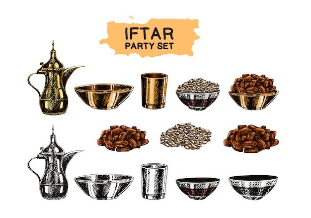 Conjunto de tema islâmico iftar party