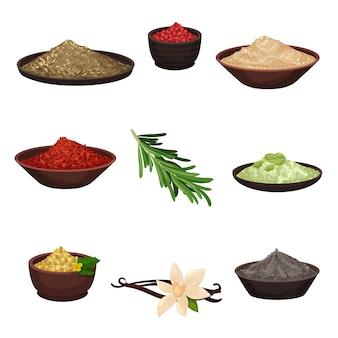 Conjunto de temperos diferentes. ingredientes orgânicos perfumados para dar sabor a pratos. tema de culinária