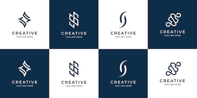 Conjunto de template.icons de design de logotipo s criativo para negócios de luxo, elegante, abstrato. vetor premium