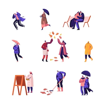 Conjunto de temporada de outono. ilustração plana dos desenhos animados