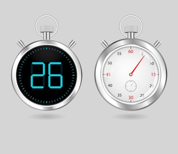 Conjunto de temporizadores de velocímetros digitais e analógicos