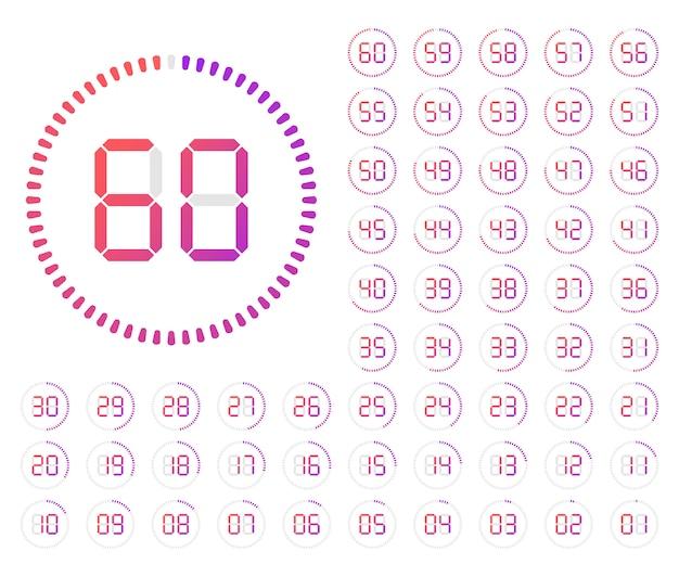 Conjunto de temporizadores. ícone de sinal do mostrador do relógio minimalista branco com tempo de carrapatos