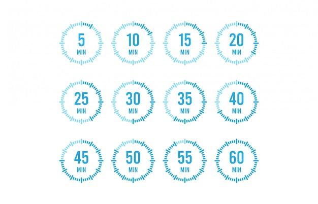 Conjunto de temporizadores. ícone de sinal. temporizador de rotação completa. ícones coloridos planos. ilustração design plano.
