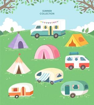 Conjunto de tenda e campista de verão