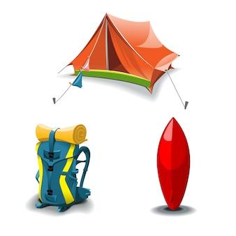 Conjunto de tenda, mochila e prancha de surf