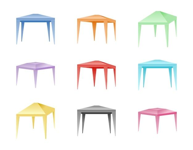 Conjunto de tendas dobráveis coloridas.