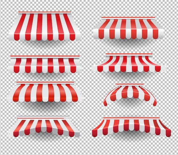 Conjunto de tendas listradas