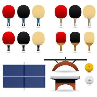 Conjunto de tênis de mesa. conjunto completo de tênis de mesa.