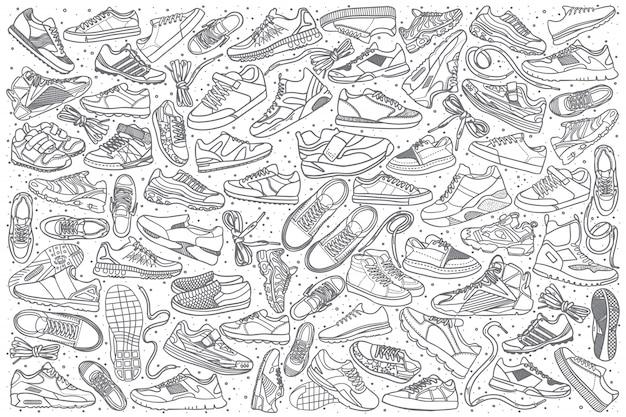 Conjunto de tênis mão desenhada