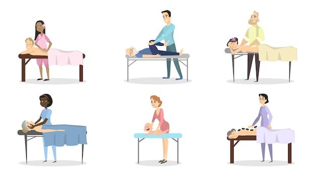Conjunto de terapia de massagem. médicos com pacientes como mulheres, homens e bebês.
