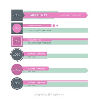 Conjunto de terços inferiores em design plano com cores suaves