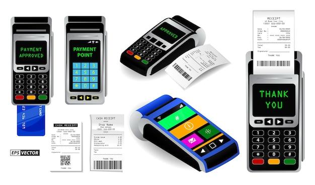 Conjunto de terminal de máquina de pagamento realista isolado ou pos de cartão de crédito com recibo ou ponto de pagamento
