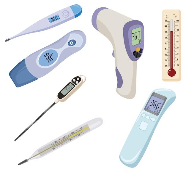 Conjunto de termômetros. coleção de dispositivos para medir temperatura. aparelho médico.